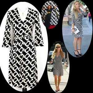DVF Julian Black White Chain Link Silk Dress 6